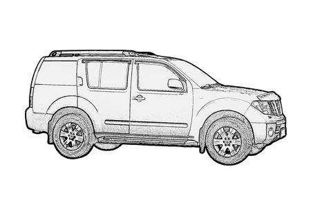 Photo pour Car drawing monochrome on white - image libre de droit