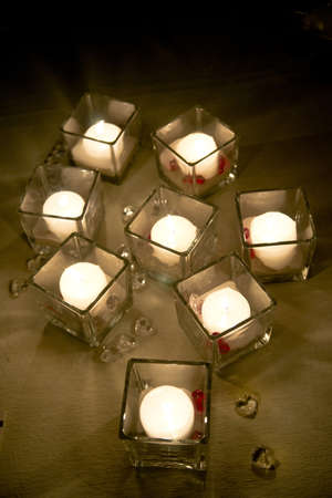 Small Candles in Romantic Relaxation Area In A Spa
