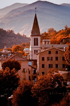 Panorama view of the ancient village Castellane (Provence) from the chapel Notre Dame du Roc.