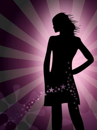 Silhouette einer jungen Frau - Party - Disco
