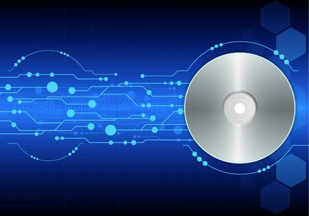 cd-dvd on blue digital background