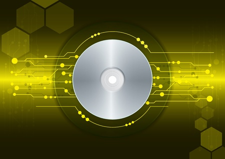cd-dvd on dark yellow digital background