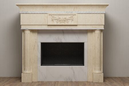 Photo for Elegant stone fireplace in home interior - Royalty Free Image