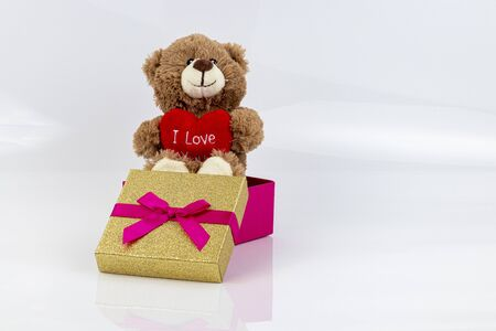 Stuffed bear with a heart and the words I love you