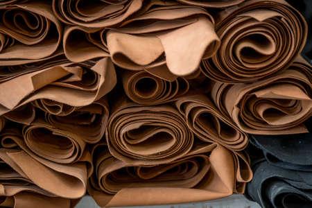 Foto de Real toned leather ready to post process into a footwear. texture, background - Imagen libre de derechos