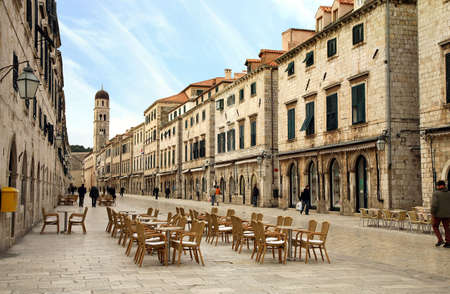 Strada of Dubrovnik. The Strada is the main shopping street and gathering area in the city of Dubrovnik in Croatia.  Main street by early morning.