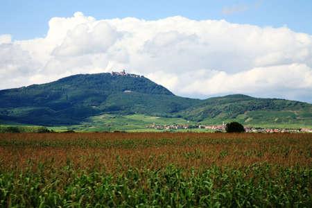 Alsace wine route. Vosges Mountain range with the clouds - view on Château du Haut-Kœnigsbourg ( castle Haut-Koenigsbourg ), France.