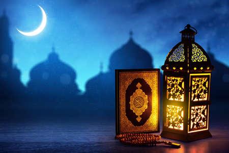 Photo pour Arabic lantern, Ramadan kareem background - image libre de droit