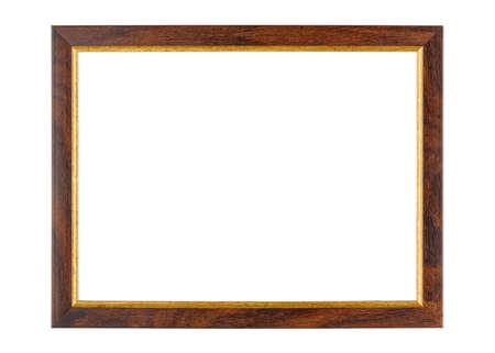 Photo pour Empty dark brown wooden photo frame with golden border isolated on white background - image libre de droit