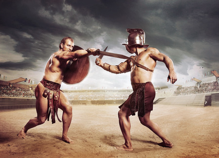 Photo for Gladiators fighting on the arena of the Colosseum - Royalty Free Image