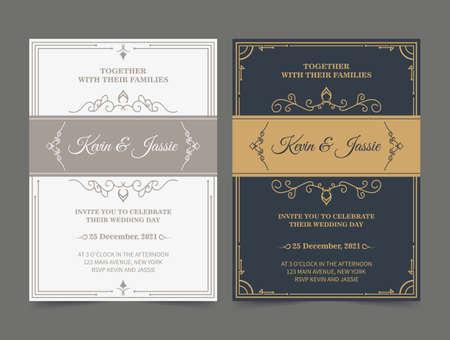 Ilustración de Luxury vintage golden vector invitation card template - Imagen libre de derechos
