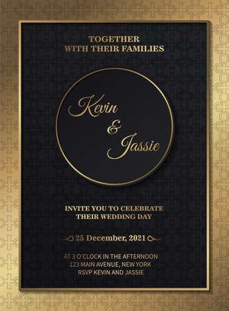 Illustration pour Dark gold wedding invitation template - image libre de droit
