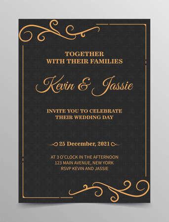 Illustration pour Luxury vintage golden vector invitation card template - image libre de droit