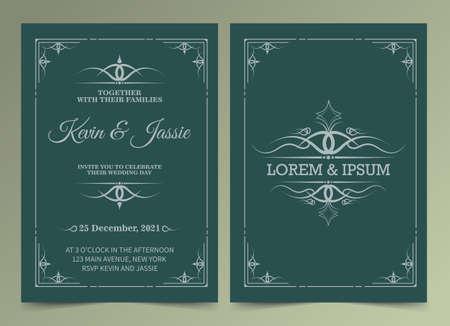 Illustration for Invitation card vector design vintage style - Royalty Free Image