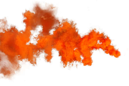 Photo for Red and orange smoke isolated on white background - Royalty Free Image