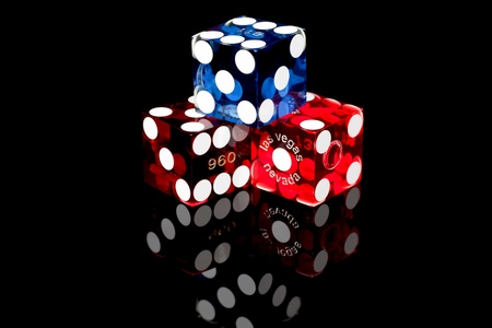 Colorful Las Vegas Gaming Dice on a Black Background