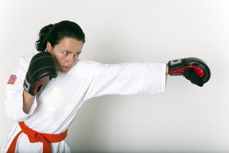 Attractive Young Woman in a Self Defense Stance