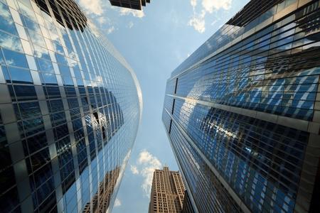 Upward view of skyscrapers in Chicago