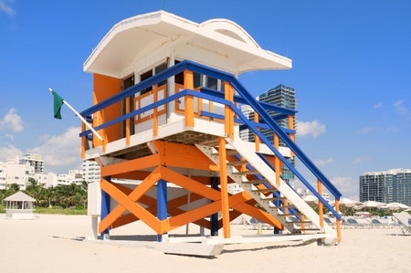 Colorful lifeguard station in Miami South Beach