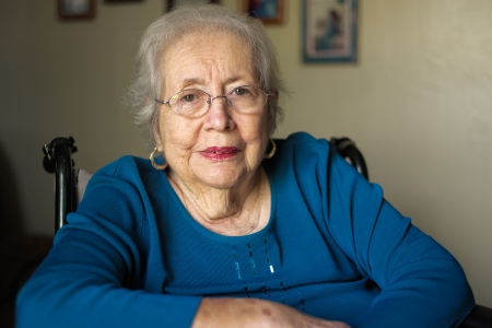 Elderly 80 plus year old woman portrait in a home setting