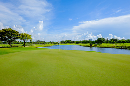 Golf course landscape viewed from the putting green