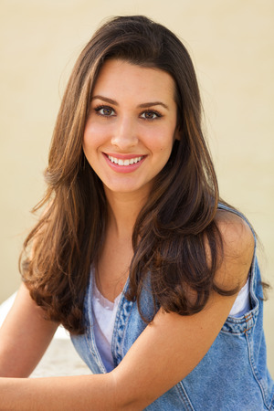 Beautiful multicultural young woman outdoor portrait.