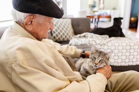 Foto de Elderly man with his pet cat in a home setting. - Imagen libre de derechos