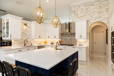Photo for Beautiful luxury home kitchen with white cabinets. - Royalty Free Image