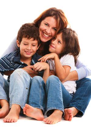 Foto für Pretty young mother, son and daughter portrait on a white background. - Lizenzfreies Bild