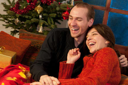 young couple having fun in christmastime