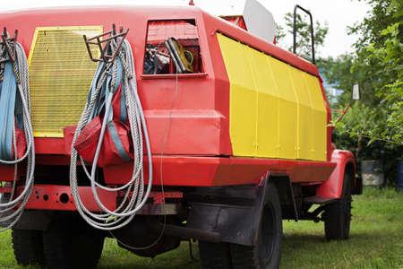 red vintage vehicle fr emergency situations