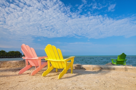 Photo pour Summer scene with colorful lounge chairs on a tropical beach in Florida with palm tree and blue sky - image libre de droit