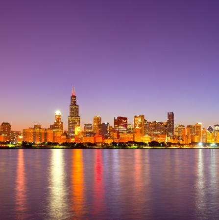 City of Chicago USA, sunset