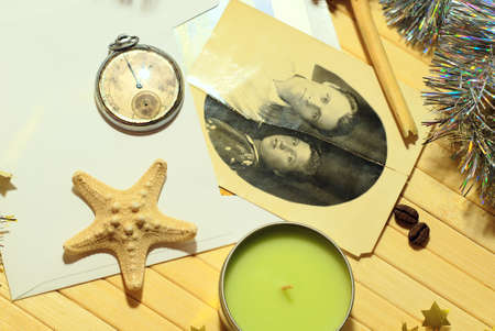 Still life photos, candles, clocks in vintage style 50-ies, top view