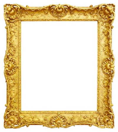 Gold vintage frame isolated on white background