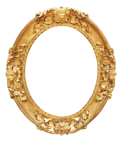Gold vintage oval frame isolated on white background