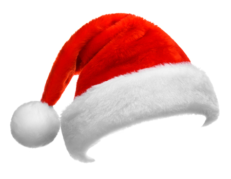 Santa Claus red hat isolated on white background