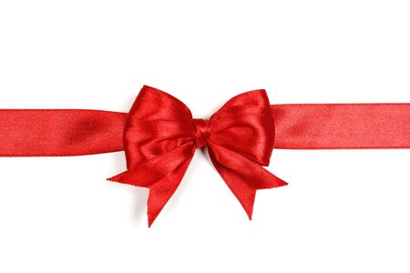 Photo pour Red satin gift bow isolated on white background. - image libre de droit