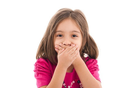 portrait of a lovely little girl, covering her mouth with both hands, isolated on white background