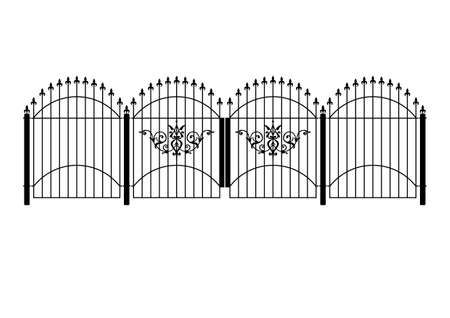 wrought iron victorian fence and gates in vector format