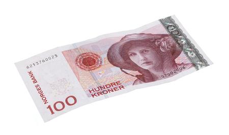 Norwegian 100 kroner bill isolated on white