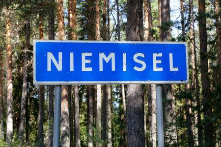 Northern Sweden village Niemisel location road sign.