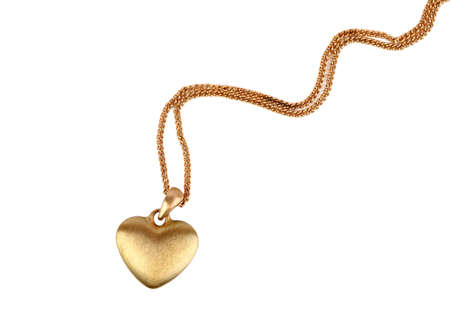 Photo pour Golden heart pendant isolated on white - image libre de droit