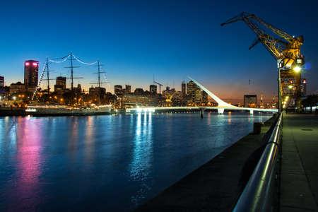 Womens bridge at night Puerto Madero Buenos Aires Argentine