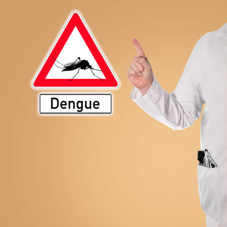 Doctor warns of dengue next to a sign with a mosquito and the text dengue