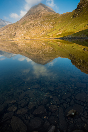 Mountain Reflection with stones in the foreground