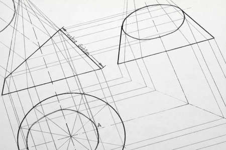 A pencil drawing created with a truncated cone.
