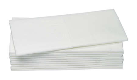 Ten white paper handkerchiefs are on one another
