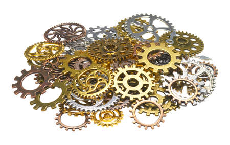 A pile of gears in front of white background.
