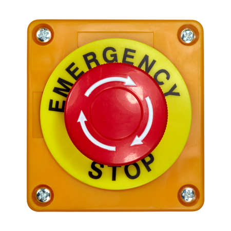 Photo for Red button in a yellow case with the label EMERGENCY STOP. - Royalty Free Image